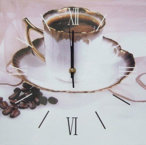 Square Kitchen Dining  Room Wall Clock  - Coffee in China  Cup