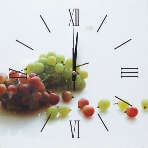 Square Kitchen Dining  Room Wall Clock  - Grapes