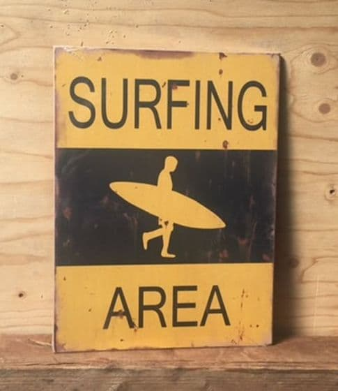Surfing Area ~ Retro Coastal Wooden Sign Wall Art