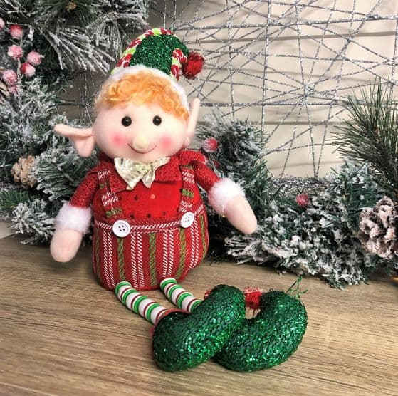Tinsel Toes Elf Shelf Mantel Sitter Fabric Christmas Novelty Decoration
