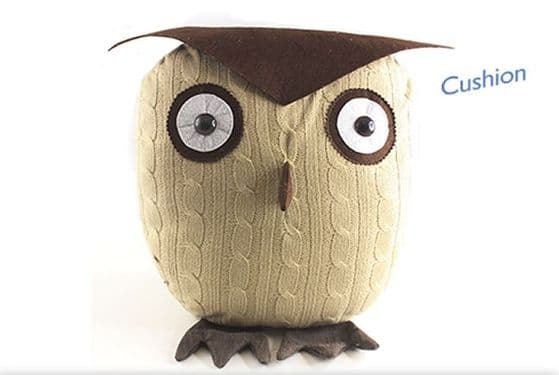 Wise Owl Brown Knitted Cushion