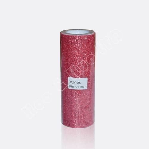 """Coral Glitter Tulle Roll  6"""" / D12"""