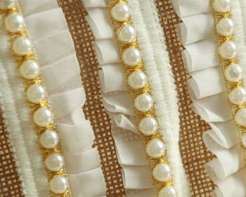 Cotton Ribbon With Pearl 30 MM