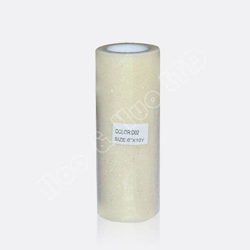 """Ivory Glitter Tulle Roll 6"""" X 10 Y / D02"""