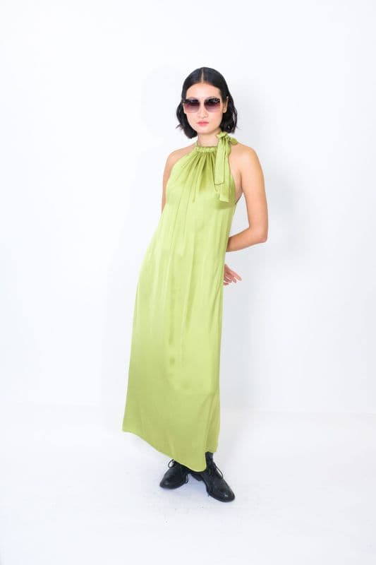 Isla Maxi dress in Chartreuse silky satin