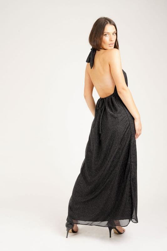 Lullah Halter dress in Black Shimmer