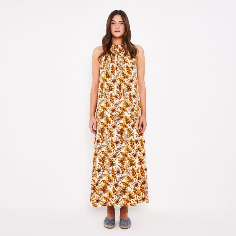 Lullah Halter Maxi Dress in Leaf Print