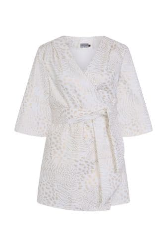 Mary-H-Wrap Kimono dress in white and gold