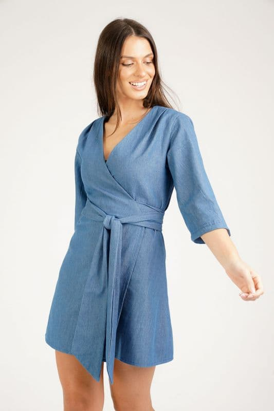 Mary-H-Wrap Kimono mini dress in Denim