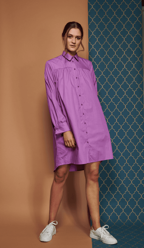 Melodie Shirt Dress in Cotton Poplin