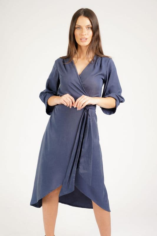 Rita Wrap Dress in Midnight  tencel