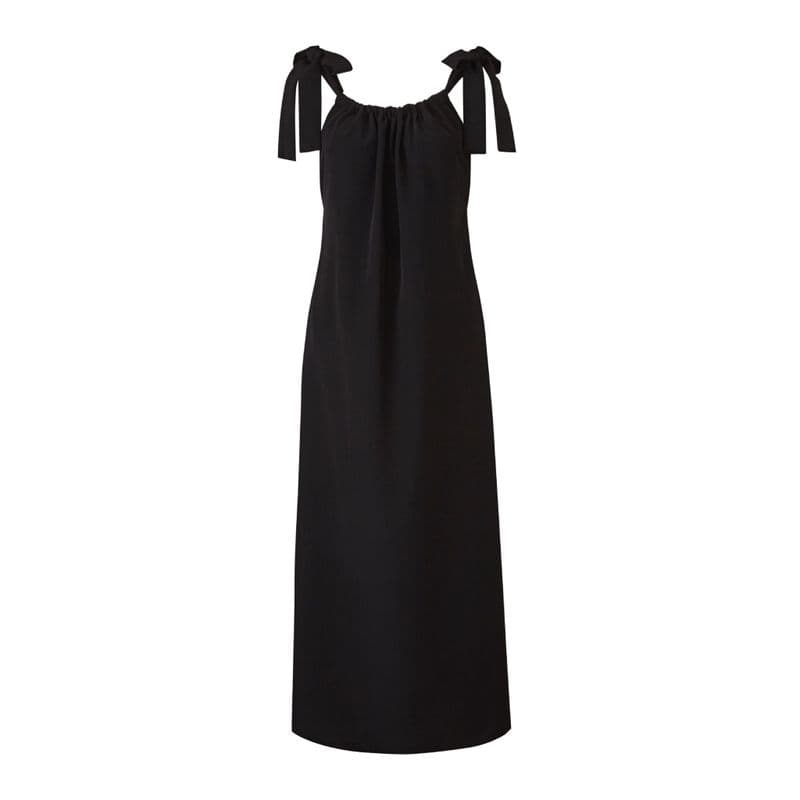 Rosa tie strap Maxi Dress in black