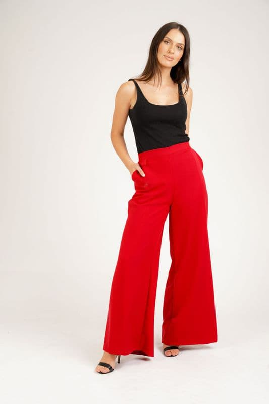 Sofia Wide Leg trouser in Red