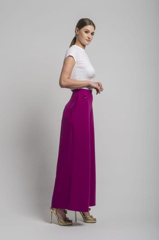 Sofia wide leg trousers in Magenta