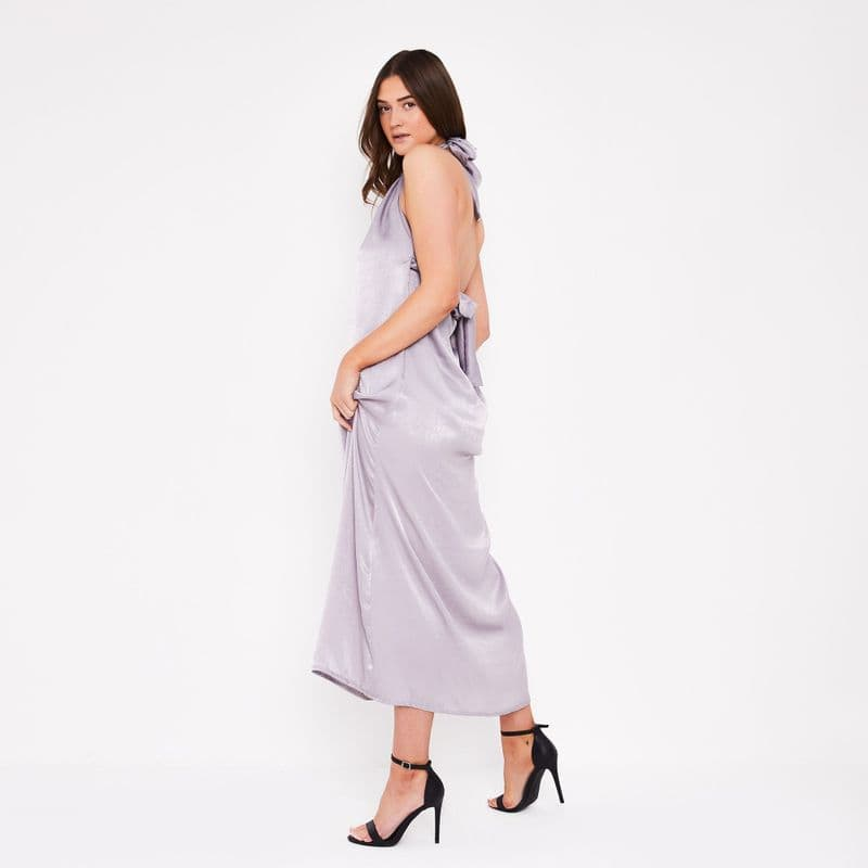 Tallulah Halter Satin Maxi Dress in Silver grey