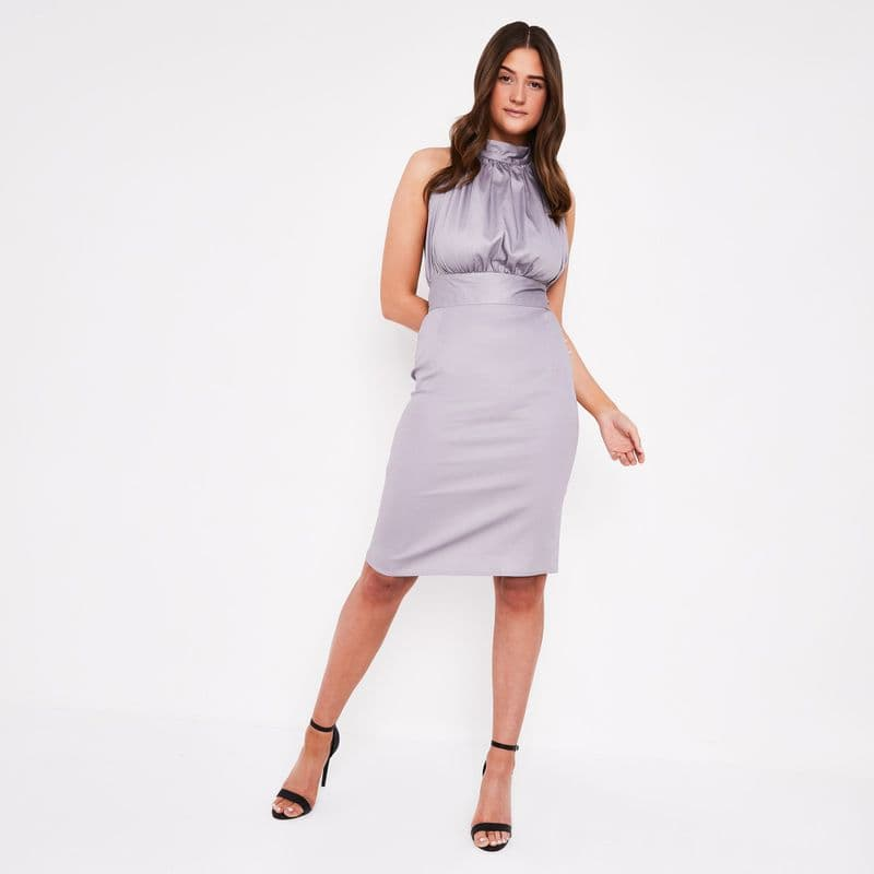 Vera Halter Dress in Powder Grey