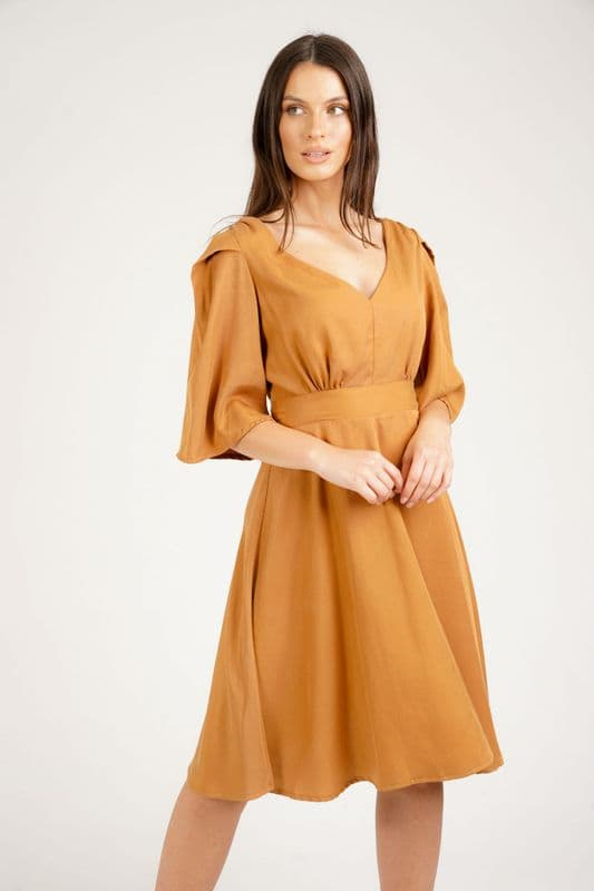 Verity Midi Dress in Eco Camel Tencel