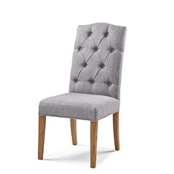 Button back upholstered chair with arch top