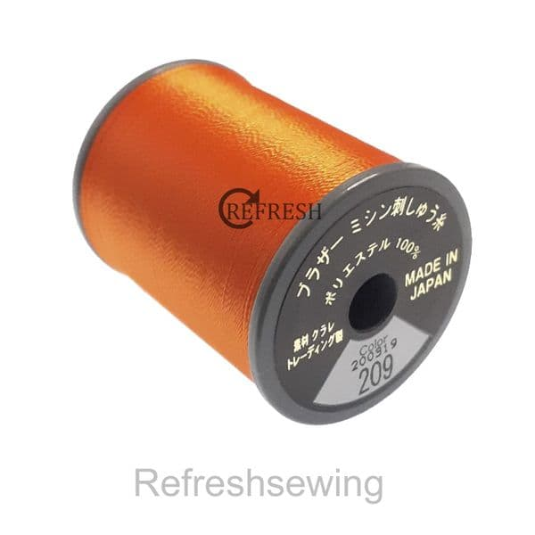 Brother No 209 - Tangerine Satin Embroidery Thread