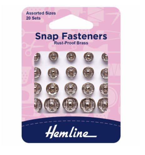 H420.99: Snap Fasteners: Sew-on: Nickel: Assorted: Pack of 20