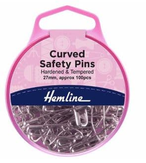 Hemline 100 Curved Shape Safety Pins 27mm Quilting Sewing Patchwork Basting