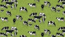 Makower Fabric 100% cotton material Village Life Cows