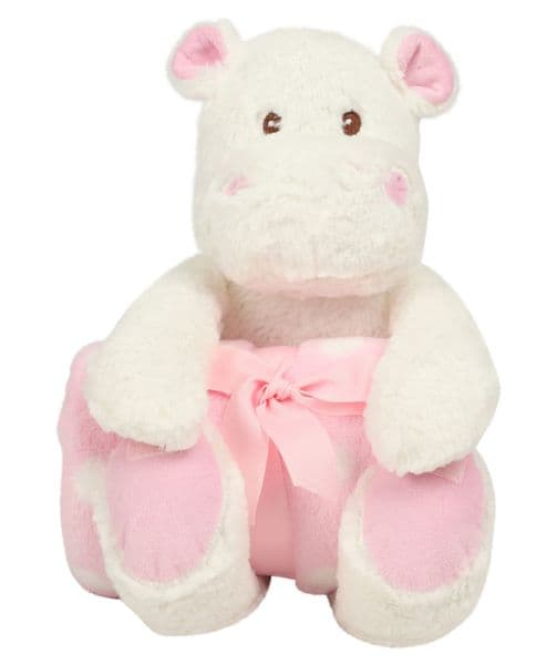 Mumbles Hippo with Pink Blanket - embroider me
