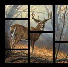 "Nutex Field Day Stag Deer Through the Window Fabric Panel 36"" x 44"""