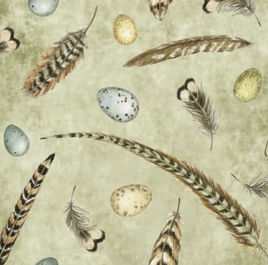 Nutex Key to the garden - Pheasant and partridge feathers and eggs - 100% cotton Fabric