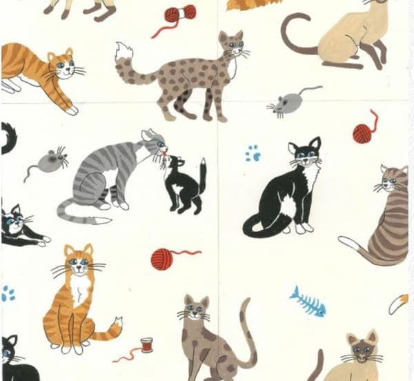 Nutex Nine Lives Cats Fabric 100% Cotton