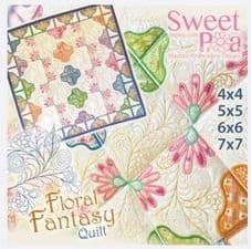 Sweet Pea Floral Fantasy Quilt CD Embroidery designs