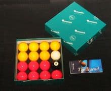 "ARAMITH PREMIER TOURNAMENT 2"" RED&YELLOW POOL BALLS 1 7/8"" match white cue ball - 301758467857"