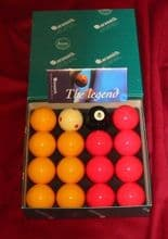 "ARAMITH PREMIER TOURNAMENT 2"" RED&YELLOW POOL BALLS 1 7/8"" Spot Pro Cup cue ball"