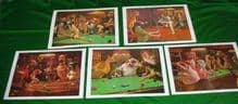 ARTHUR SARNOFF QUALITY PICTURES SNOOKER POOL TABLE DOG PRINTS,COMPLETE SET OF 5