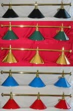 Rosetta Brass Pool Snooker Billiard Table lighting light shade red black green brass blue