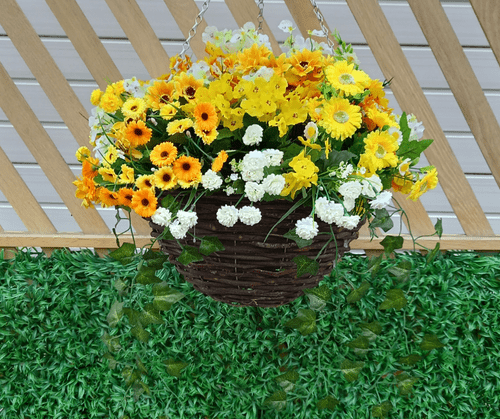 """16"""" Hanging  Basket Artificial outdoor Flowers - Yellow & White & IVY"""