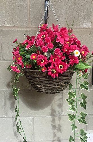 """All magenta 12"""" Hanging  Basket Artificial Flower with Ivy"""
