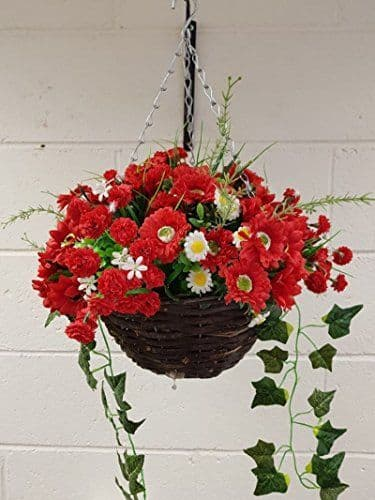 """All Red 12"""" Hanging  Basket Artificial Flower with Ivy (3)"""
