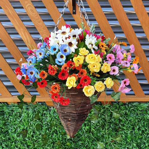 """Colourful Wildflower 12"""" Hanging Cone Basket Artificial Flower with Ivy"""