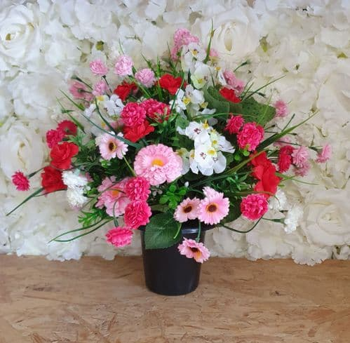 GRAVE POTS / INSERT -  Pink, Magenta, Red & White Mix Display