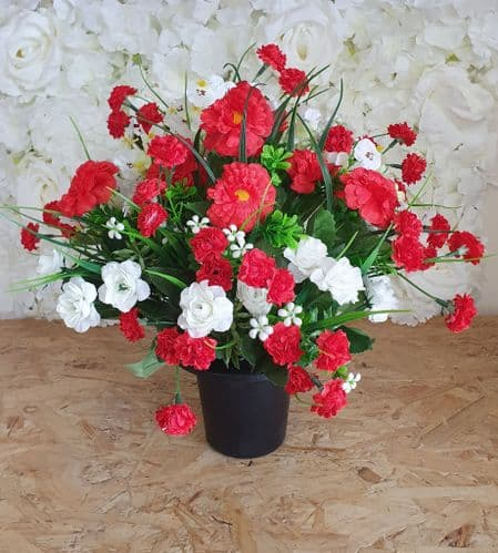 GRAVE POTS / INSERT - Red & White Mix Display