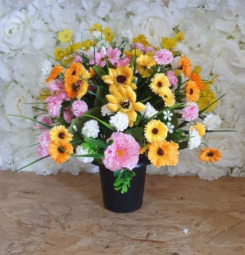 GRAVE POTS / INSERT -  Yellow Pink & White Mix Display