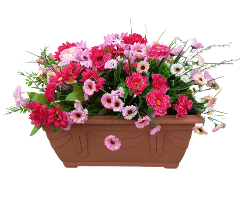Perfect Pink 40cm Trough (50CM INCLUDING FLOWERS)  Black Outdoor Artificial Flower