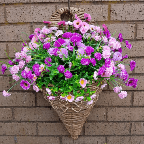 """Perfect & Purp 12"""" Wall mounted Artificial Flower Basket"""