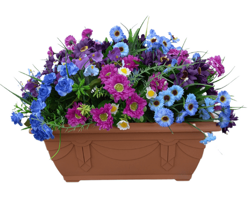 Purple and Blue  40cm Trough (50cm display inc. flowers) Outdoor Artificial Flower