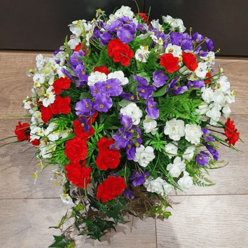 """Purple, Red & White  12"""" Hanging  Basket Artificial Flower with Ivy"""