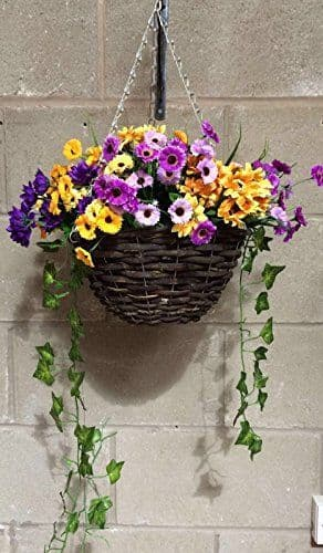 """Purple & Yellow 12"""" Hanging  Basket Artificial Flower with Ivy (4)"""