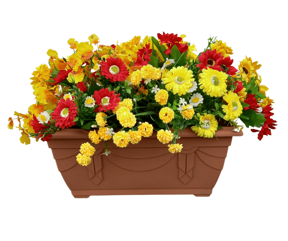 Red & Yellow 40cm Trough (50cm display inc. flowers)  Terracotta Outdoor Artificial Flower