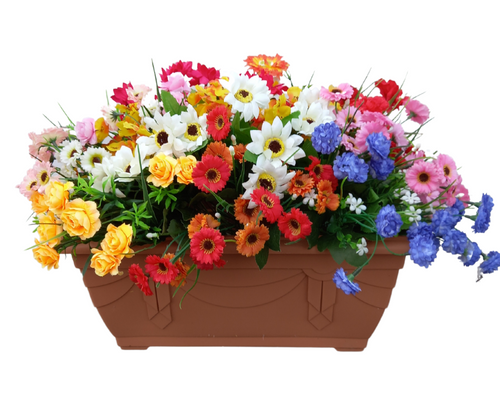 Wildflower 40cm Trough (50cm display inc. flowers)  Terracotta Outdoor Artificial Flower