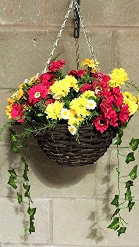 """Yellow & Magenta 12"""" Hanging  Basket Artificial Flower with Ivy"""